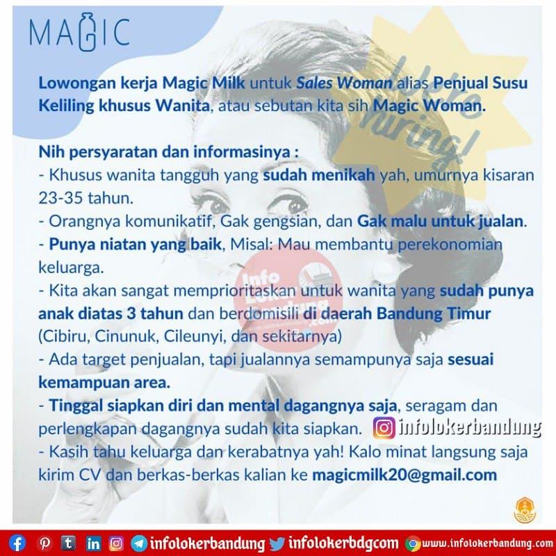 Lowongan Kerja Sales Woman Magic Milk Bandung Februari 2021