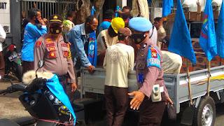 Agar Berjalan Kondusif, Polres Pelabuhan Kawal Demo Buruh Terkait Omnibus Law