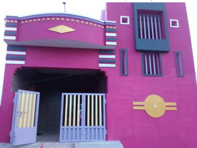 outside colour of indian village house