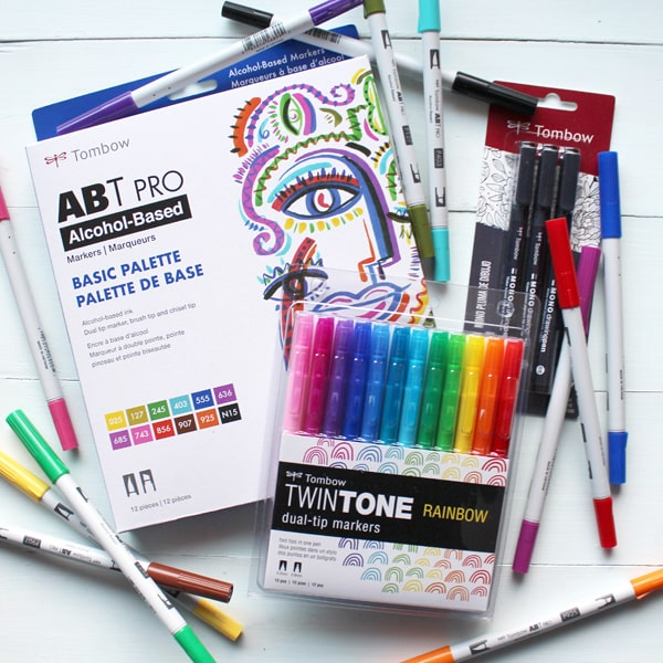 Tombow Goodies Prize Package Giveaway with Tombow ABT PROs...Alcohol ink markers are amazing. They are not great for hand lettering...but they are excellent for blending. They blend flawlessly with no marker streak lines left behind. Basic Palette included with MONO Drawing Pens and TwinTone Rainbow Pens.