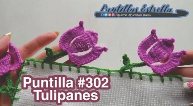 Tutorial hermosa puntilla de tulipanes a crochet