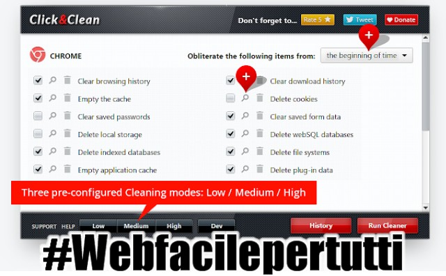 Click&Clean | Estensione per chrome che consente di pulire ogni traccia della navigazione o dell'attività svolte