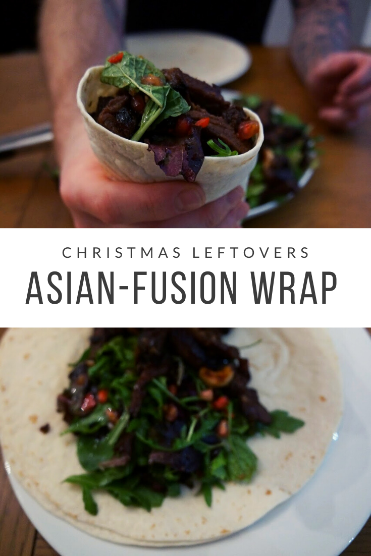 hristmas leftovers recipe: Asian-inspired wrap - a warm salad served in a tortilla. Uses up many Christmas ingredients and dishes like pomegranate seeds, roast beef or other meats, nuts etc, and you can use any meat for this