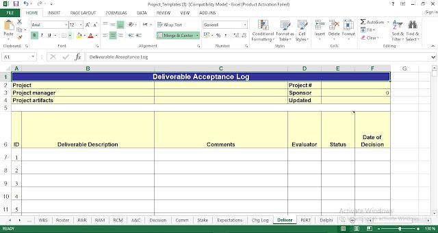 Deliverable Acceptance Log Template