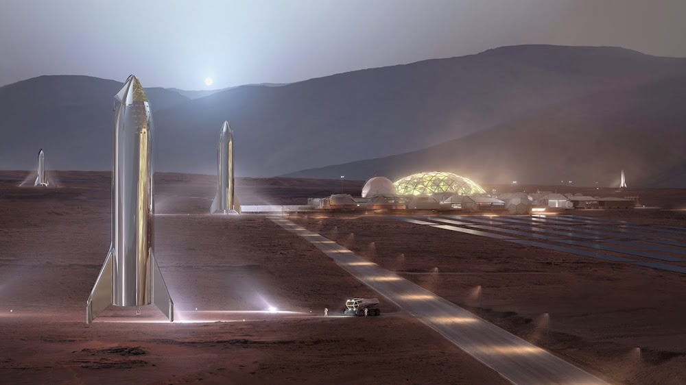 SpaceX stainless steel Starships at Mars Base Alpha by William Falconer-Beach