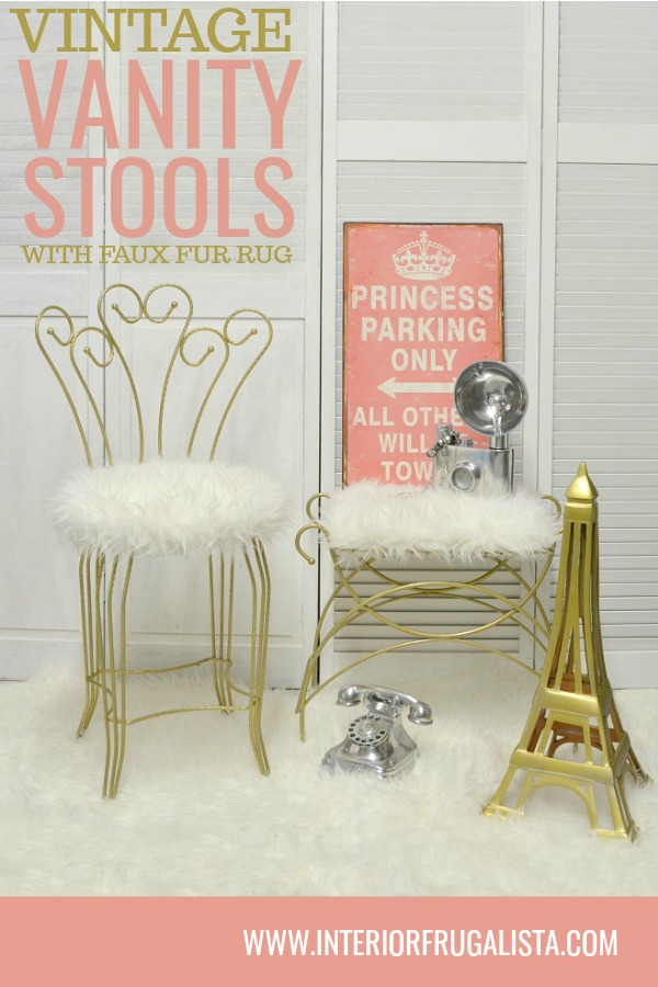 Vanity Stools Makeover With Faux Fur Rug