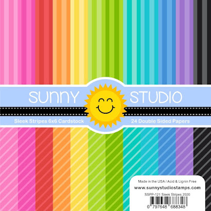 Sunny Studio Stamps Sleek Stripes Straight & Diagonal Striped 24 sheet Double Sided 6x6 Patterned Paper Pad