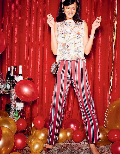 floral top and stripes pants