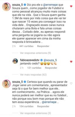 Souza rebate Renato Maurício Prado e afirma que ele precisaria nascer 15 vezes para ganhar o que ele recebe de salário
