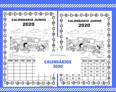 Calendário junho turma da Mônica imprimir e colorir