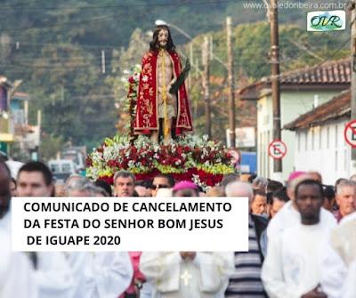 Comunicado de cancelamento da Festa do Senhor Bom Jesus de Iguape 2020
