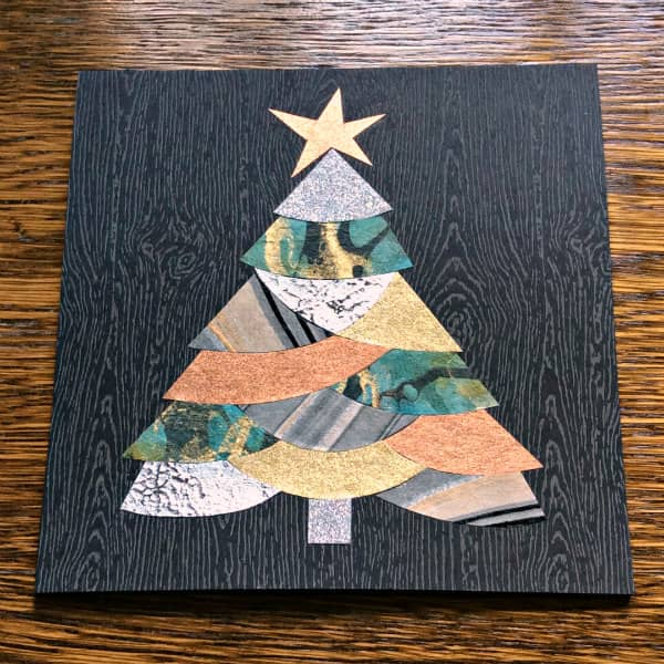 Christmas tree collage card made with metallic papers