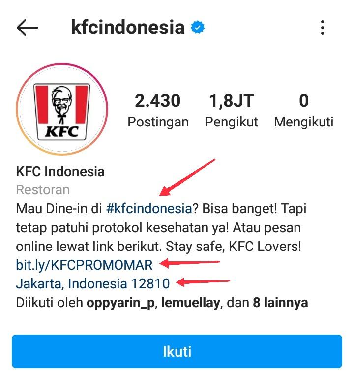 Optimasi profil Instagram