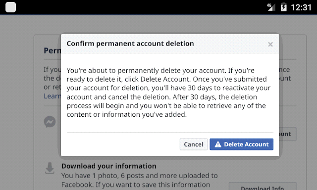 Facebook Account Deleted