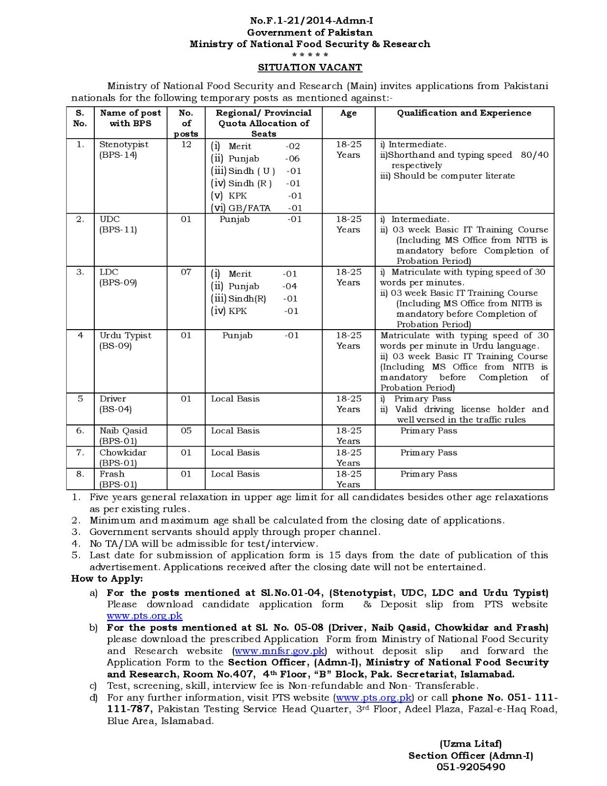MNFSR Jobs 2020, jobs in MNFSR Jobs 2020 Ministry of National Food Security and Research