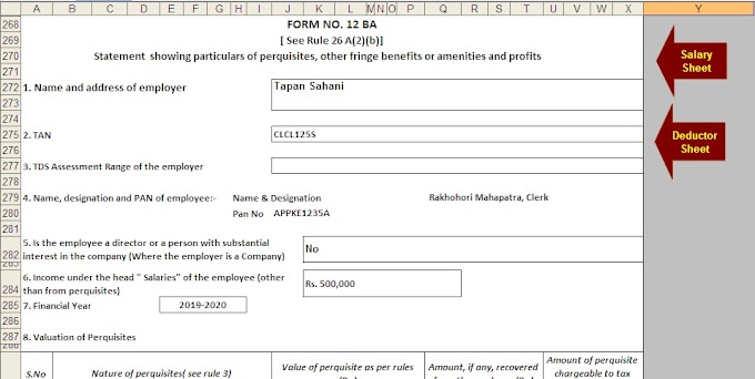 Automated Income Tax Master of Form 16 Part B with Form 12 BA for F.Y. 2019-20 With Tax Benefits from Pension Fund U/s 80CCD(1), 80CCD(2) and 80CCD(1B)