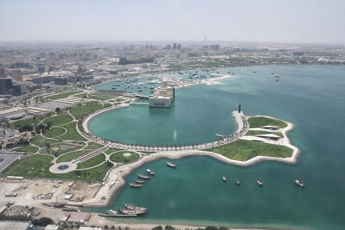 Doha aerial view with the Museum of Islamic Art.