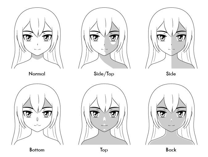 Wajah anime menaungi pencahayaan yang berbeda