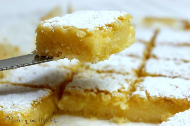 Lemon-bars o cortadillos de limón con o sin gluten. Julia y sus recetas