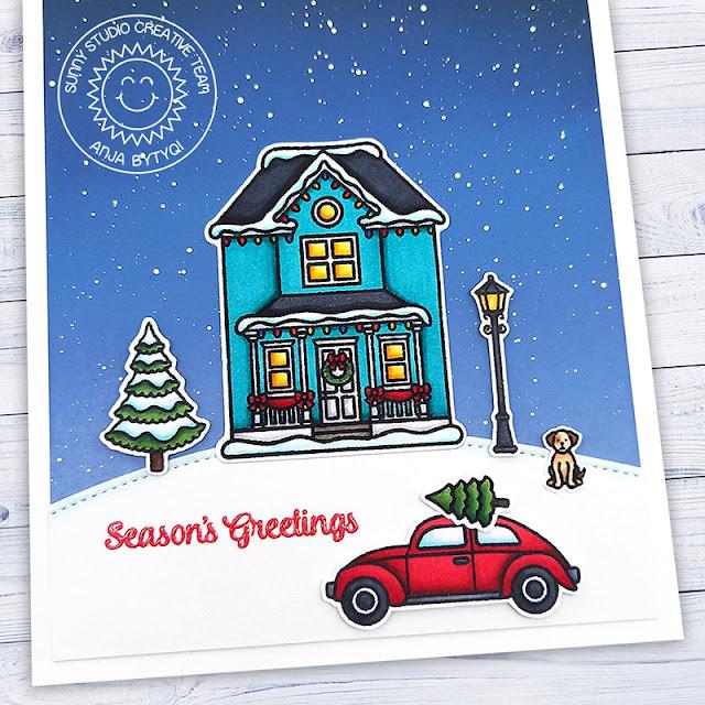 Sunny Studio Stamps: Victorian Christmas Winter Scene Season's Greetings Christmas Card by Anja Bytyqi