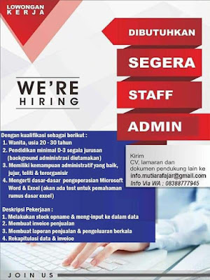 Lowongan Kerja Mutiara Fajar Sebagai Staff Admin