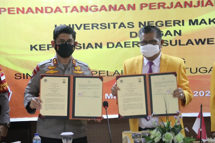 Kabid Humas, Kapolda Sulsel Teken Kerja Sama Dengan Universitas Negeri Makassar