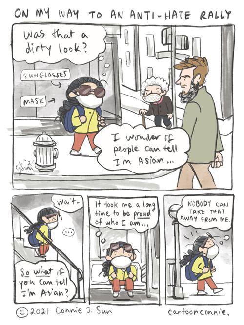 Journal comic about Asian American self-affirmation in the face of anti-Asian hate in America. Sketchbook illustration by Connie Sun, cartoonconnie