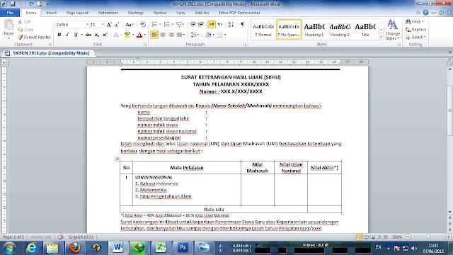 Cara Membuat SKHUN Sementara Dengan Aplikasi Format Microsoft Excel Versi Terbaru 2017/2018