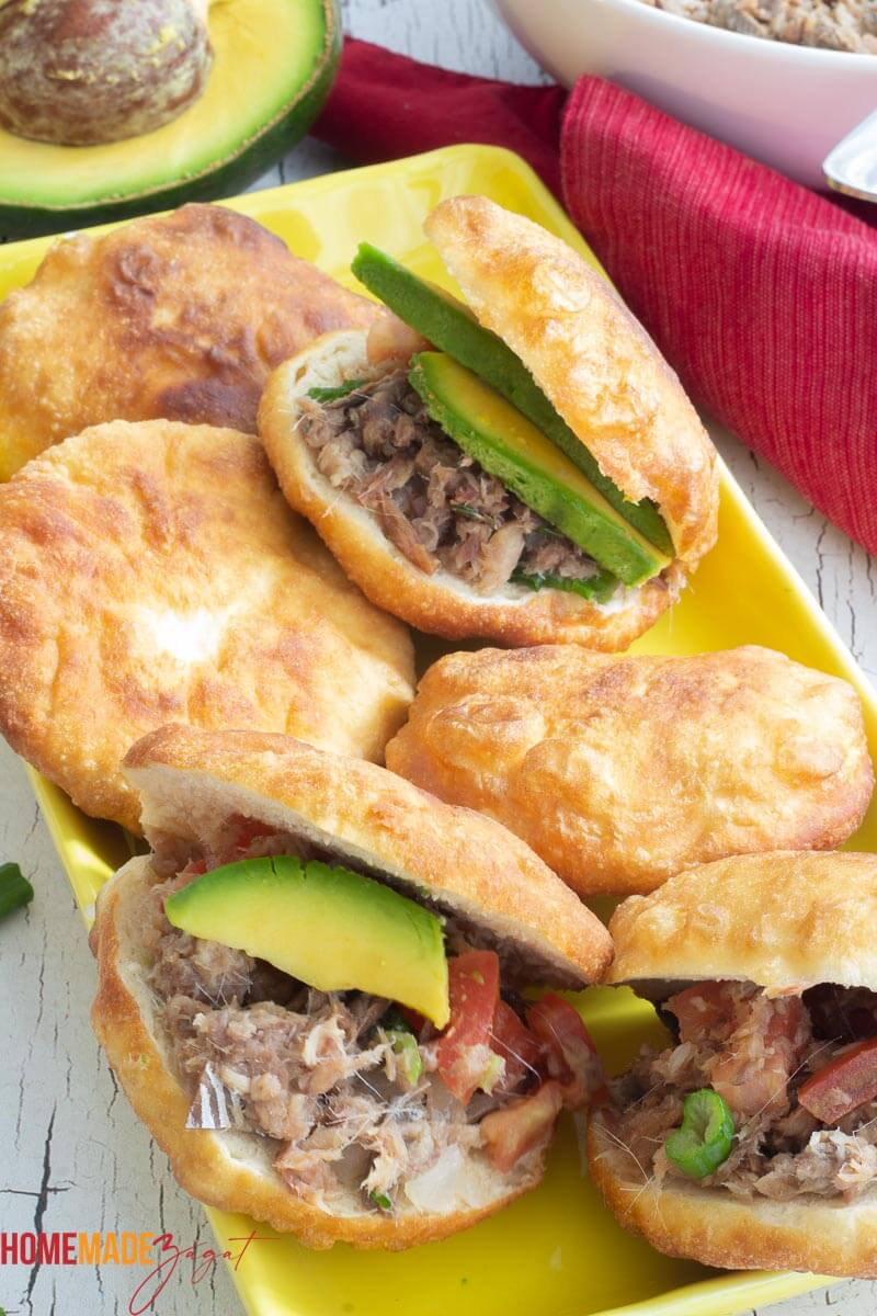 Fried bake stuffed with smoked herring and avocado