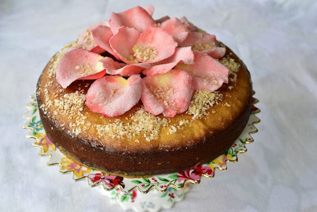 Semolina Coconut Cake with Sugared Rose Petals