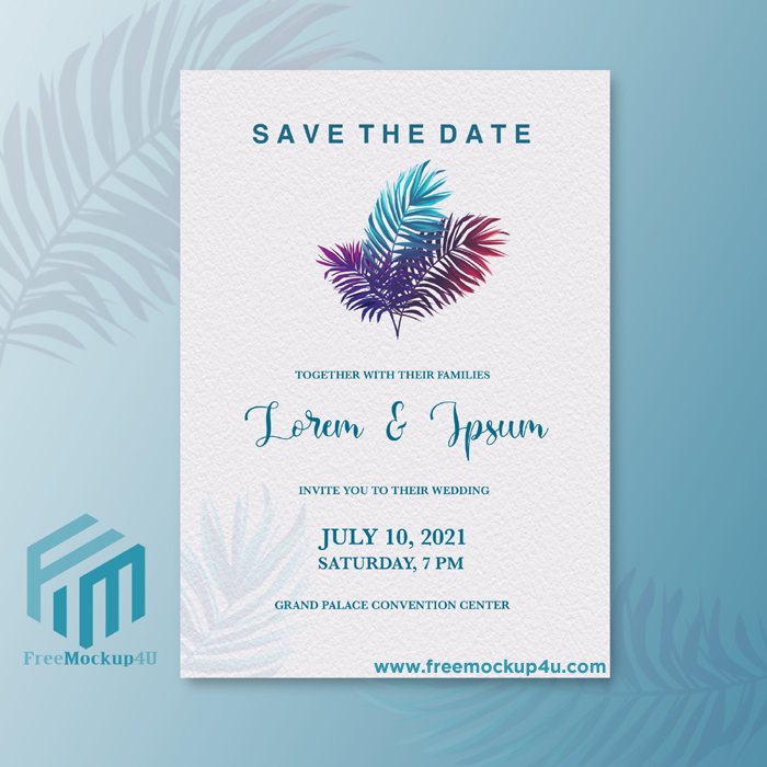 Minimalist Wedding Invitation With Blue Palm
