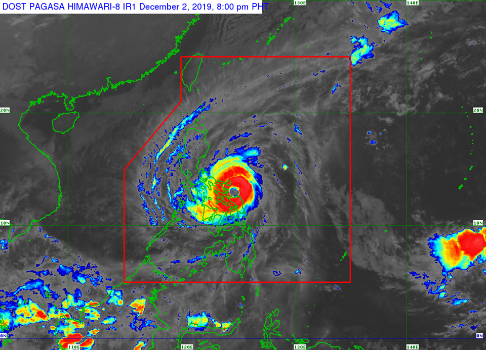 Satellite image of Typhoon Tisoy as of 8:00 pm on Monday, December 2, 2019