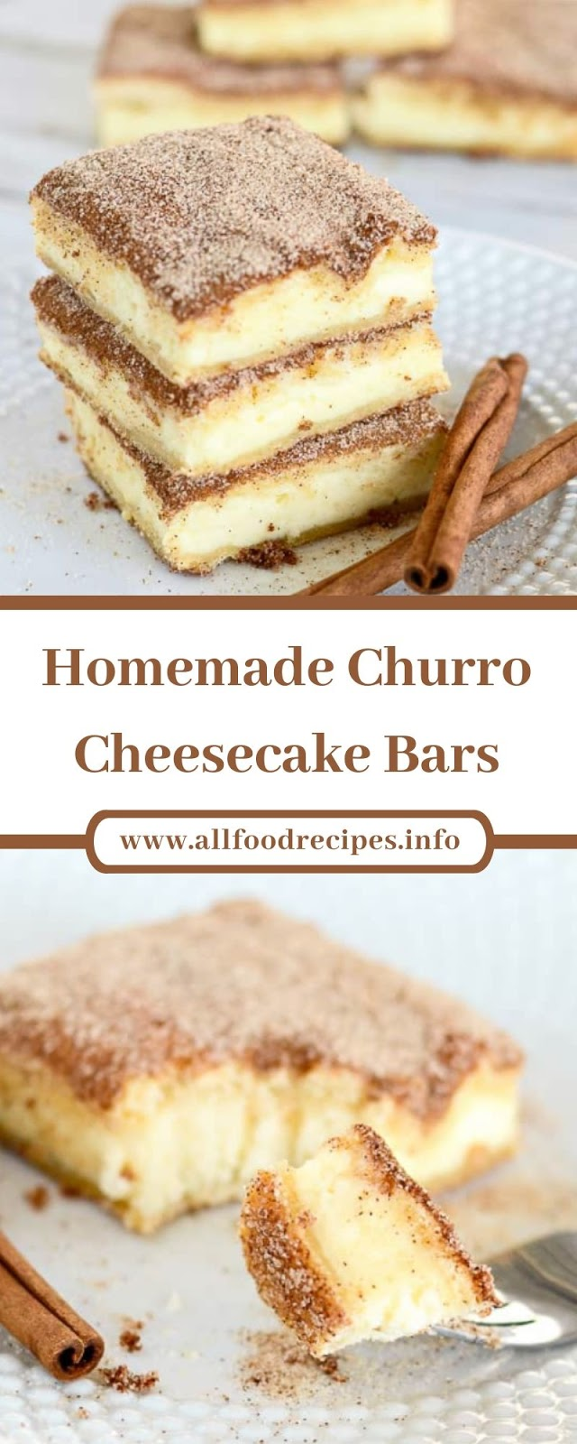 Homemade Churro Cheesecake Bars