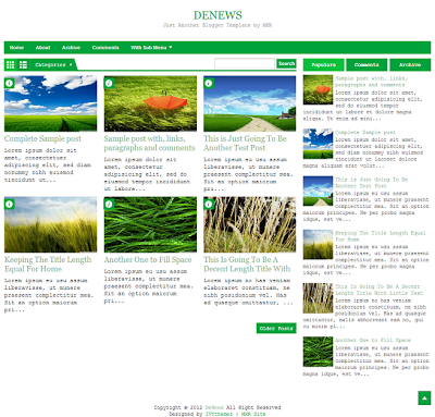 DeNews Green Blogger Template