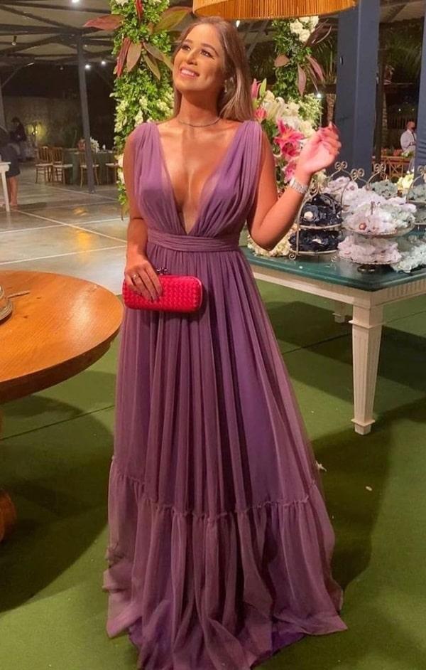 vestido longo lilás uva para madrinha de casamento