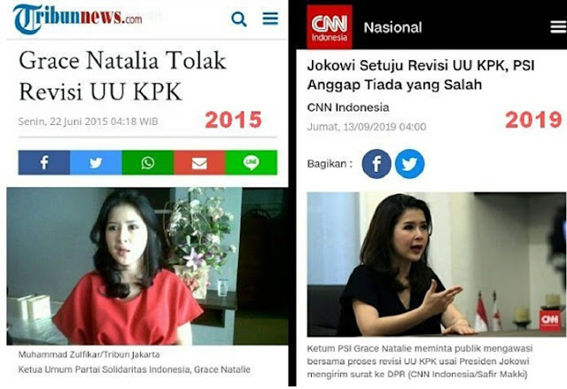 """HAHAHA.... Mencla Mencle Revisi UU KPK, PSI Jadi Tertawaan Warganet: """"Cangkem penjilat"""""""