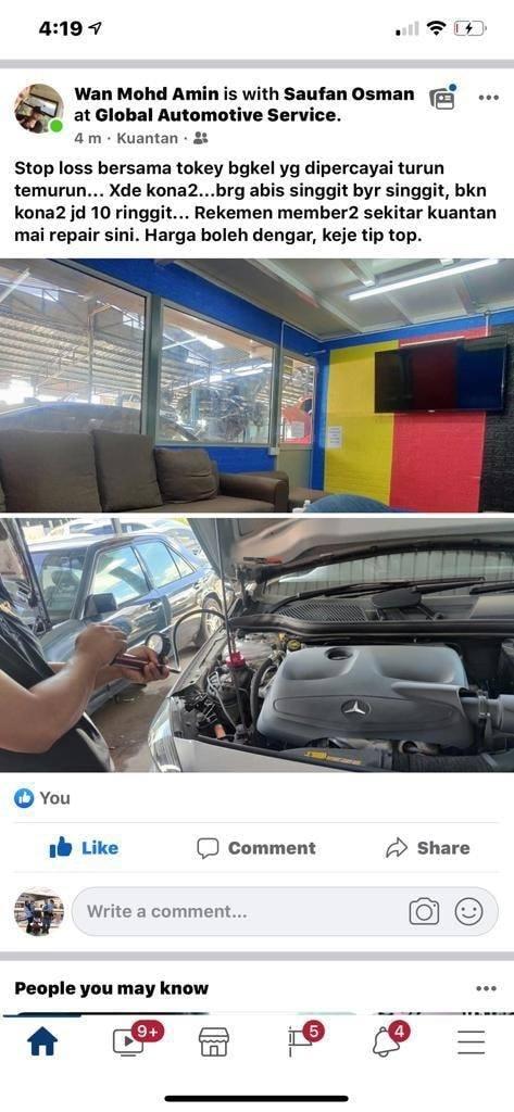 testimoni pelanggan yang datang ke bengkel Global Automotive Service