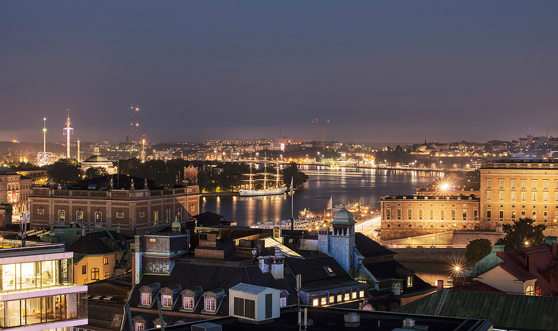 View of Stockholm from top floors at Six Hotel