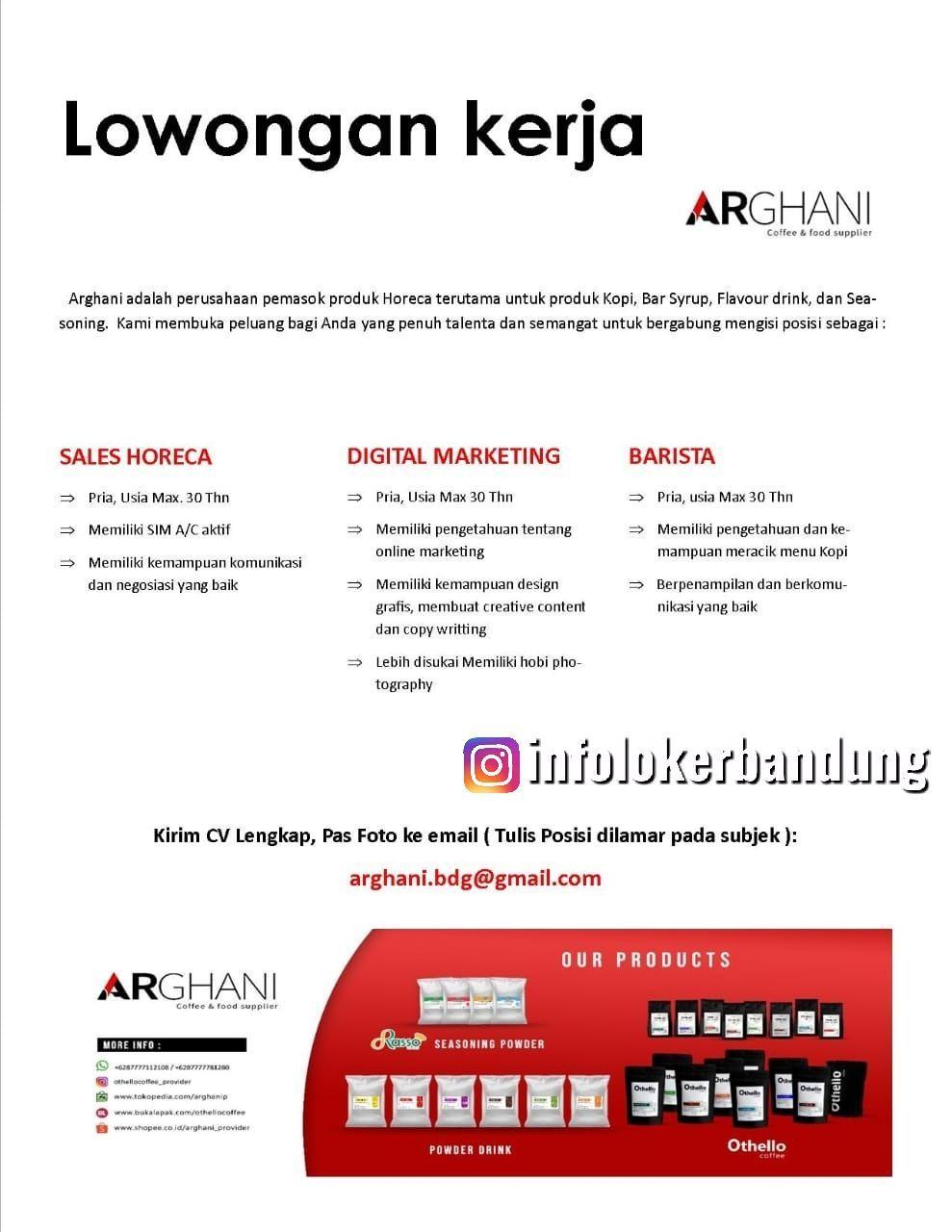 Lowongan Kerja Arghani Coffee & Food Supplier Bandung Januari 2020