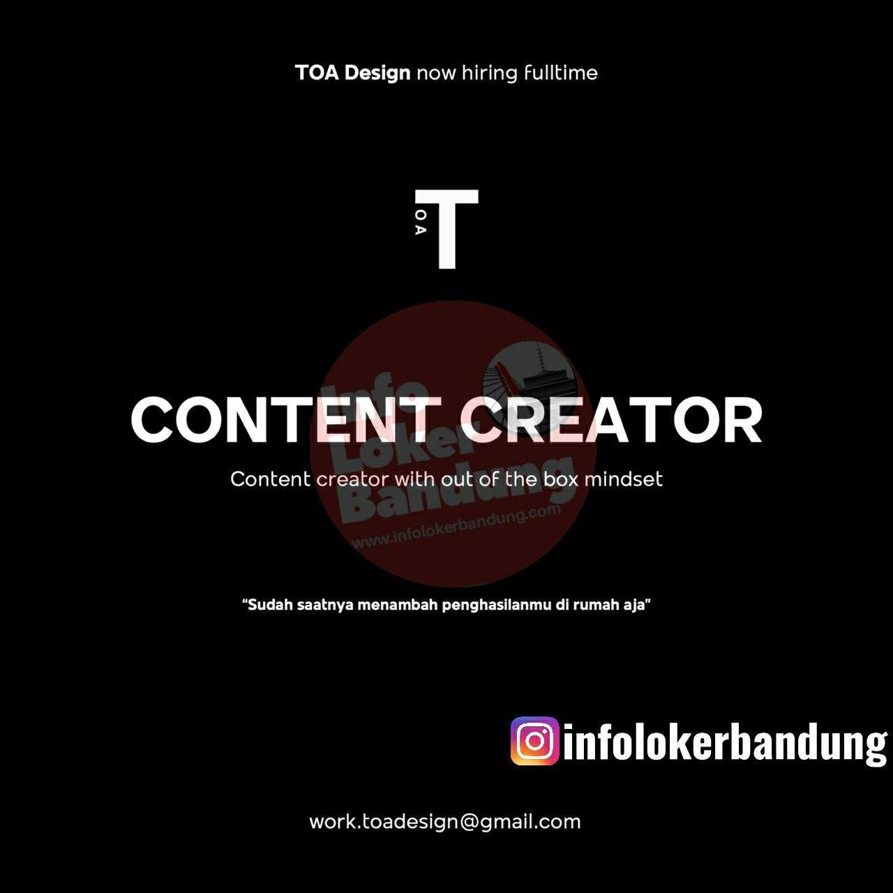 Lowongan Kerja Content Creator TOA Design Bandung Mei 2020