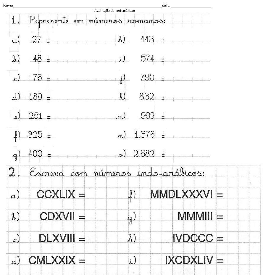 Data Em Numeros Romanos arquivo abc: avaliação: números romanos