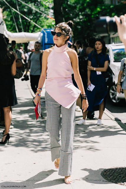 pink and gingham street style