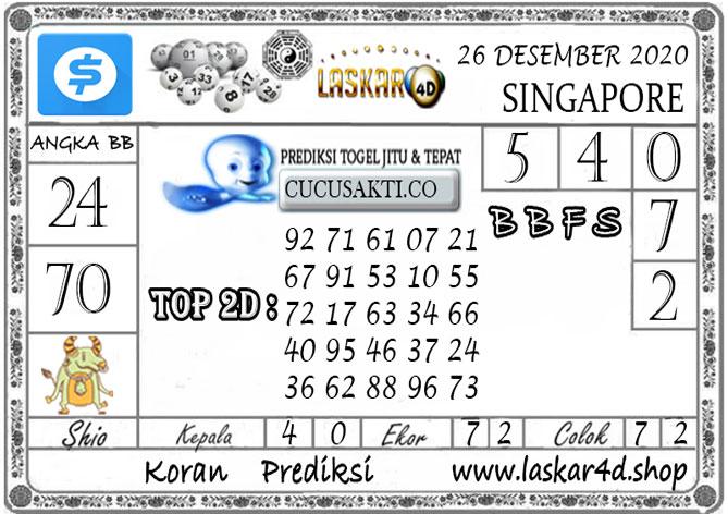 Prediksi Togel SINGAPORE LASKAR4D 26 DESEMBER 2020