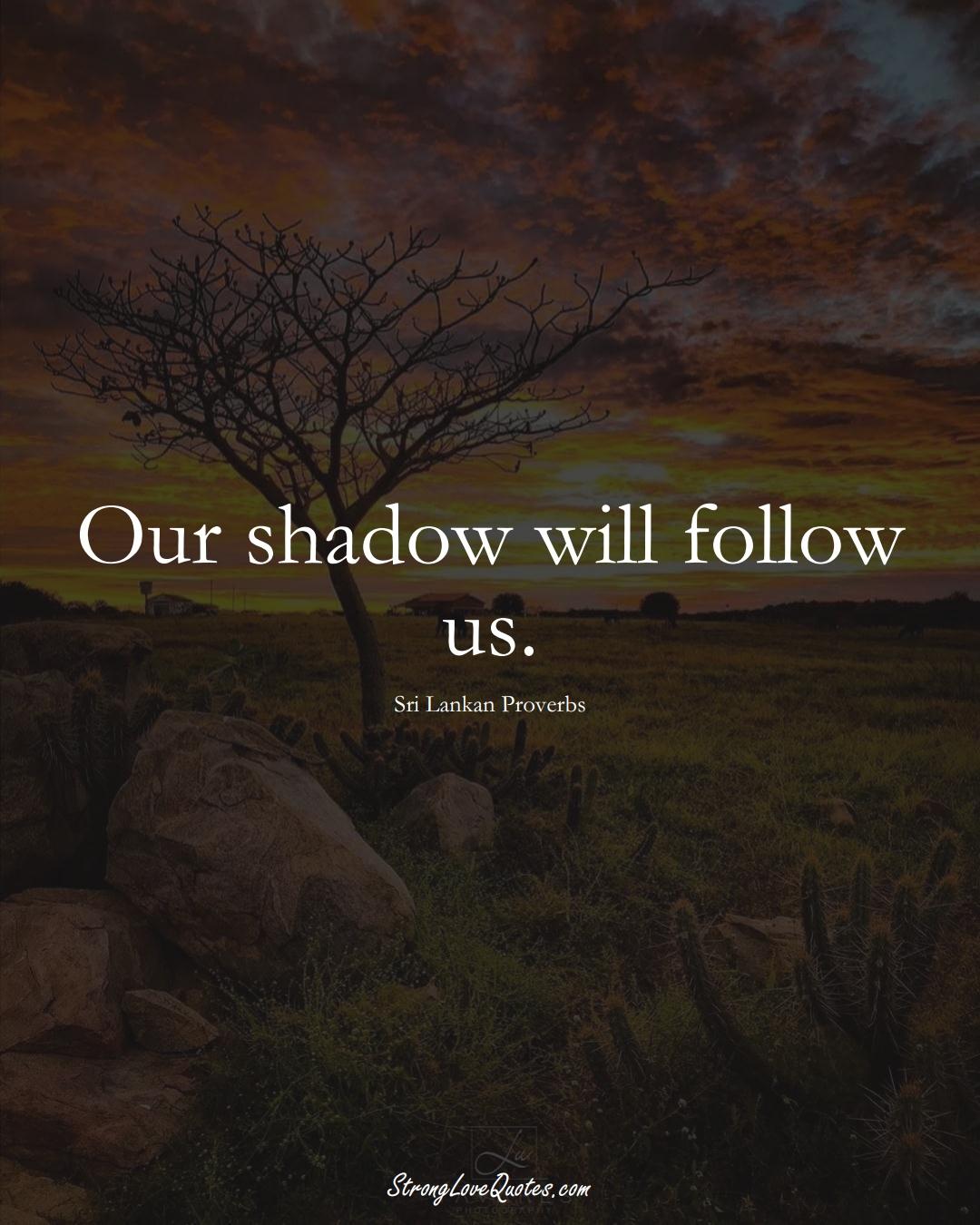 Our shadow will follow us. (Sri Lankan Sayings);  #AsianSayings