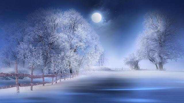 Papel de Parede Noite Fria com Lua, Arte Digital, hd, 4k
