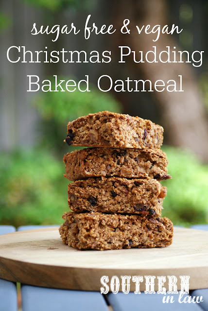 Healthy Christmas Pudding Baked Oatmeal Recipe - low fat, gluten free, vegan, sugar free, clean eating recipe, nut free, egg free, dairy free, 4 ingredients
