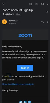 إنشاء حساب داخل تطبيق Zoom