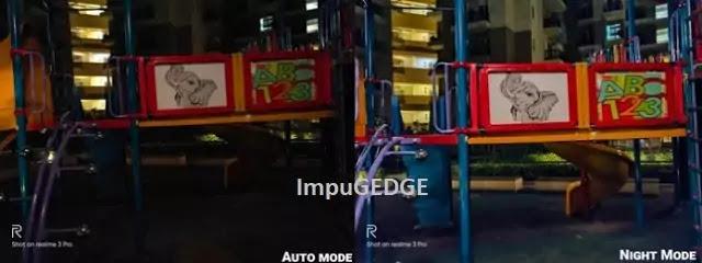 Realme 3 Pro rear camera sample auto mode vs night mode