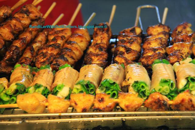 Skewers and meat rolls, Shilin Night Market, Taipei, Taiwan