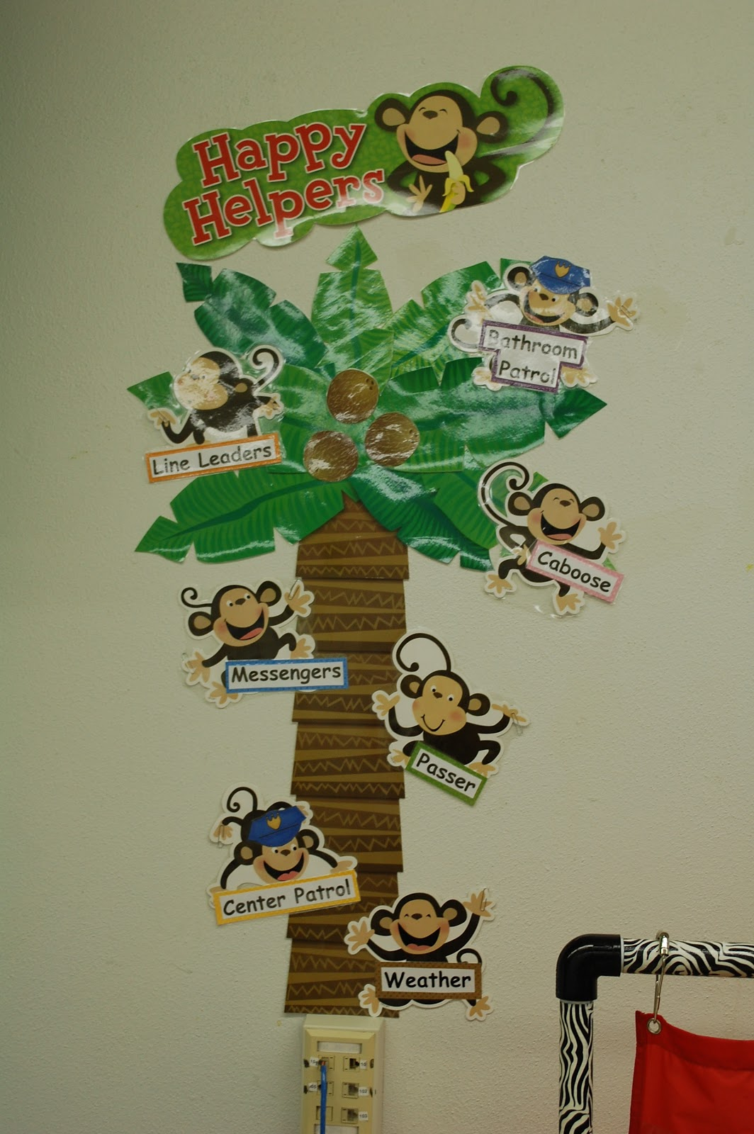 Jungle Theme Classroom Decorating Ideas Part - 39: Here Is A Pocket Chart Stand That I Made From PVC Pipe. Then, I Wrapped It  With Zebra Print Duct Tape:) (The Monster Poem In The Pocket Chart Is From  Deanna ...